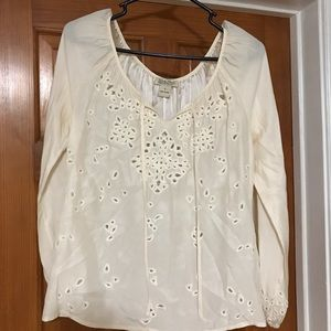 White/cream Lucky Brand blouse embroidered eyelet